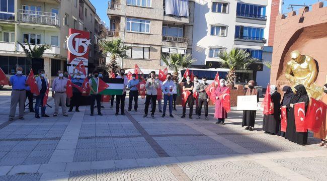 TURGUTLU'DA PROTESTO EDİLDİ